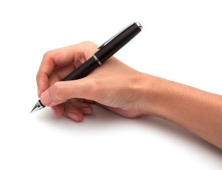 Hand with pen on white background Stock Photo - 15454587