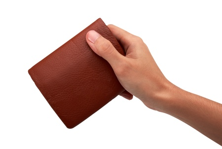Hand and wallet, isolated on white background  photo