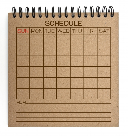 brown schedule notebook photo