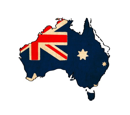 Australia map on Australia flag drawing ,grunge and retro flag series