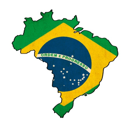 Brazil map on Brazil flag drawing ,grunge and retro flag series  photo
