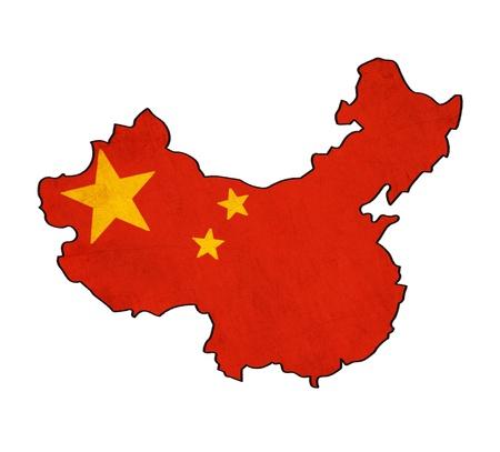 Carte de la Chine sur le dessin drapeau de la Chine, grunge et rétro flag series