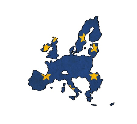 Union Européenne sur les pays carte dessin drapeau de l'UE, grunge et rétro flag series Banque d'images