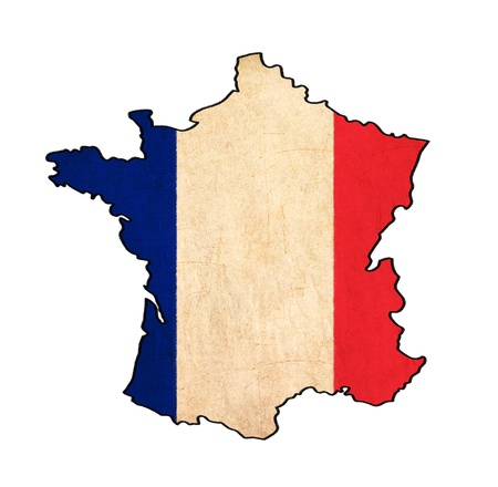 France map on France flag drawing ,grunge and retro flag series  photo