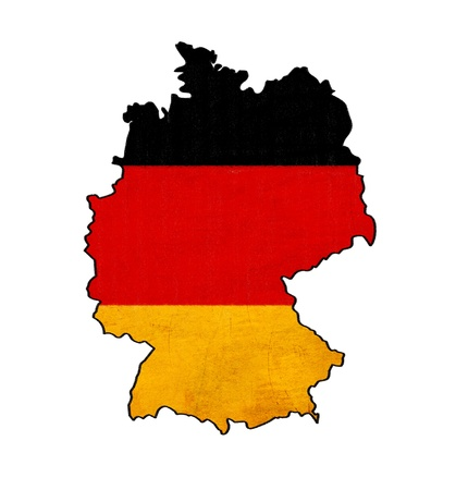 east berlin: Germany map on Germany flag drawing ,grunge and retro flag series