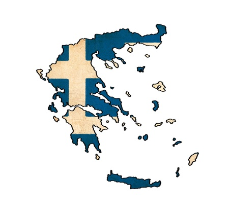 Greece map on Greece flag drawing ,grunge and retro flag series  photo