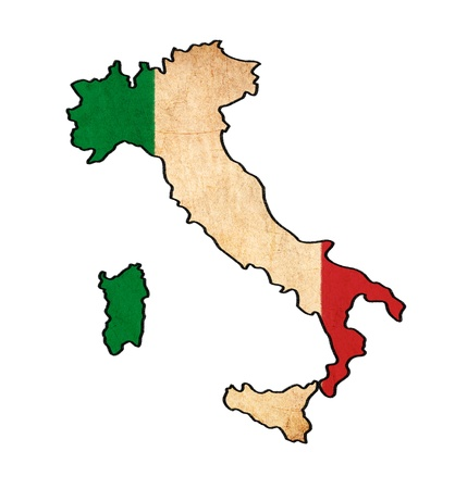 Italy map on Italy flag drawing ,grunge and retro flag series