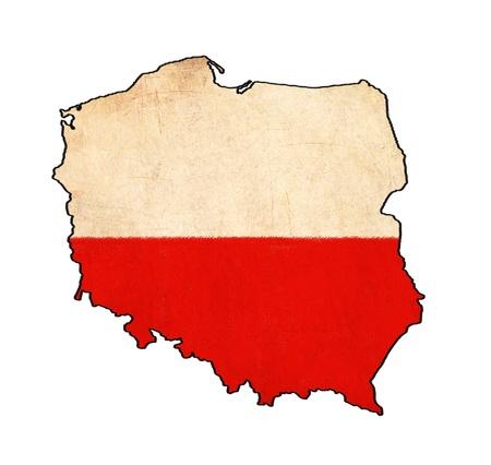 Carte de la Pologne sur le dessin drapeau de la Pologne, grunge et rétro flag series Banque d'images