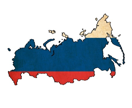 map of Russia on Russian flag drawing ,grunge and retro flag series  photo