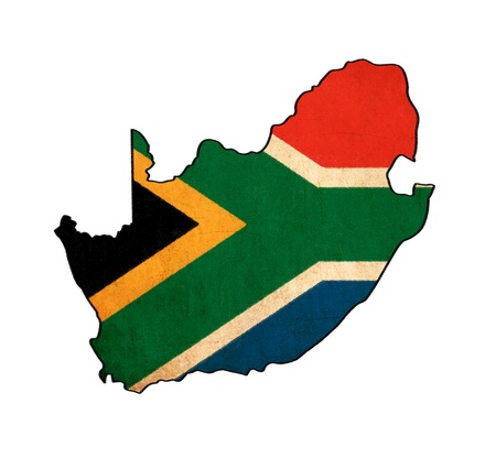 south africa: South Africa map on South Africa flag drawing ,grunge and retro flag series  Stock Photo