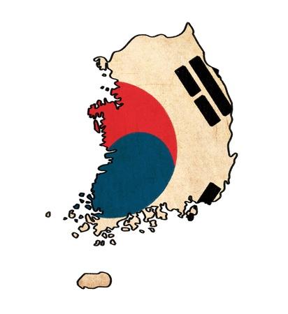 Corée du Sud plan sur le dessin drapeau sud Corée, grunge et rétro flag series Banque d'images
