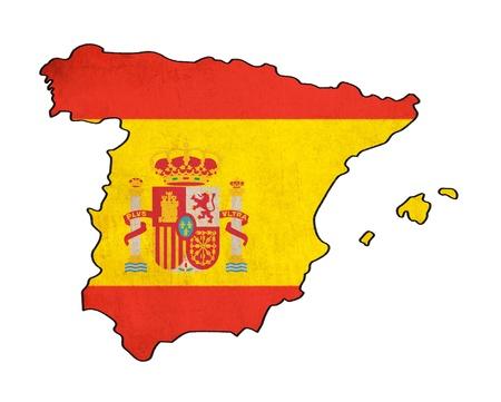 Carte de l'Espagne sur le dessin drapeau de l'Espagne, grunge et rétro flag series
