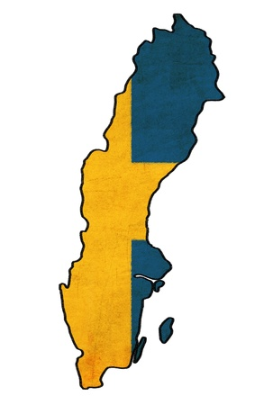 Sweden map on Sweden flag drawing ,grunge and retro flag series