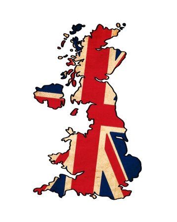 great britain: United Kingdom map on United Kingdom flag drawing ,grunge and retro flag series