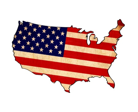 USA map on USA flag drawing ,grunge and retro flag series  Stock Photo