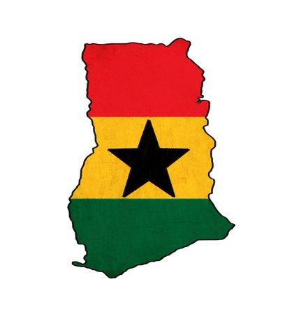 Ghana map on Ghana flag drawing ,grunge and retro flag series Stock Photo - 15741980