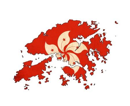 Carte de Hong Kong sur le dessin Hong Kong drapeau, grunge et rétro flag series