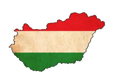 Hongrie carte sur le dessin drapeau Hongrie, grunge et rétro flag series