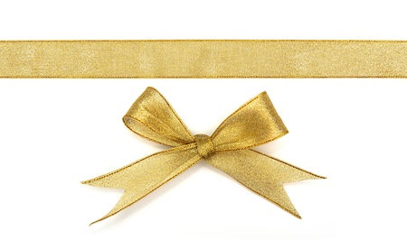 golden ribbon isolated on white photo
