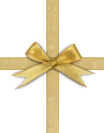 golden ribbon isolated on white Stock Photo - 15741991