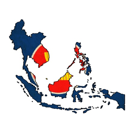 ASEAN map on ASEAN flag drawing ,grunge and retro flag series