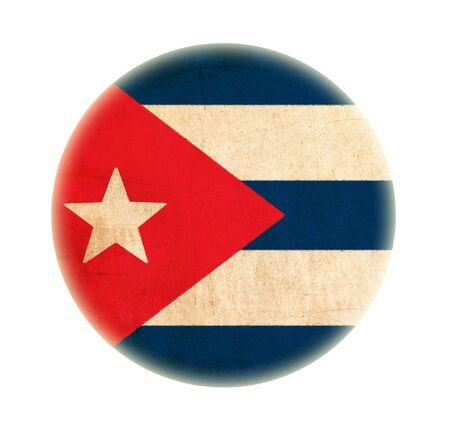 Cuba grunge flag drawing button photo