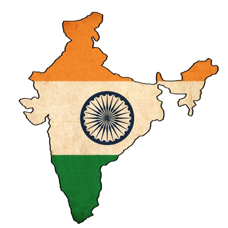 India map on India flag drawing ,grunge and retro flag series  photo