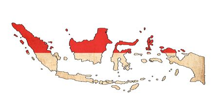 national flag indonesian flag: Indonesia map on Indonesia flag drawing ,grunge and retro flag series  Stock Photo
