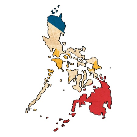 philippines  map: Philippines map on Philippines flag drawing ,grunge and retro flag series Stock Photo