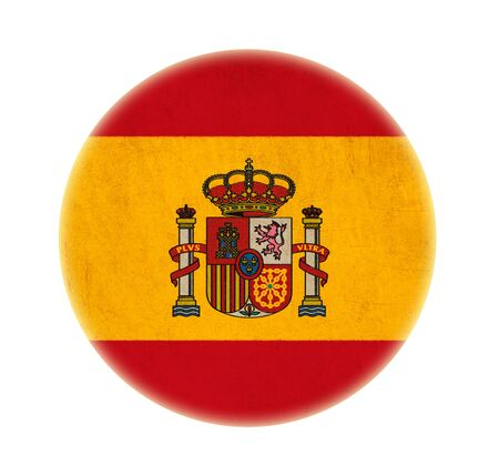 Spain grunge flag drawing button photo