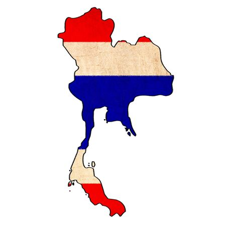 Thailand map on Thailand flag drawing ,grunge and retro flag series  photo
