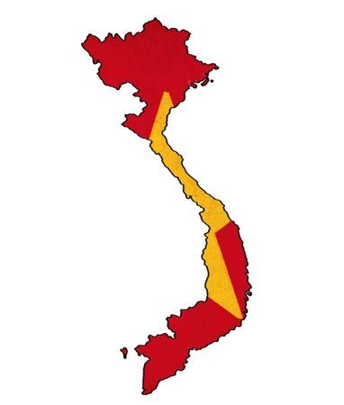 Vietnam map on Vietnam flag drawing ,grunge and retro flag series