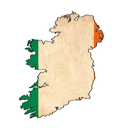 Ireland map on Ireland flag drawing ,grunge and retro flag series photo