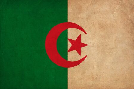 alger: Algerian flag drawing ,grunge and retro flag series