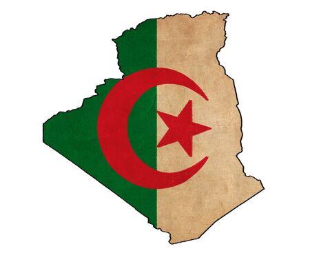 alger: Mappa algerino sul disegno bandiera algerina, grunge e Bandiere retro Archivio Fotografico