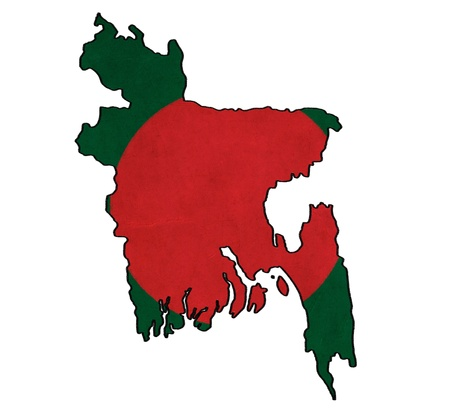 bangladesh: Bangladesh map on Bangladesh flag drawing ,grunge and retro flag series