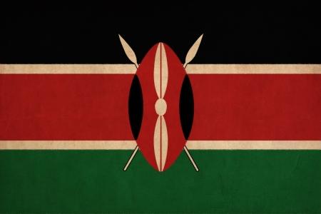 Dessin drapeau Kenya, grunge et rétro flag series