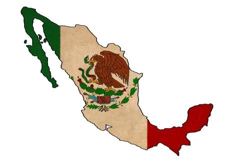 bandera mexicana: M�xico Mapa de la bandera de M�xico en el dibujo, grunge y retro serie bandera