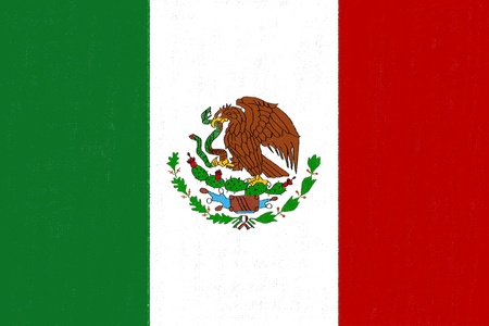 Dessin drapeau Mexique en pastel sur papier fusain Banque d'images
