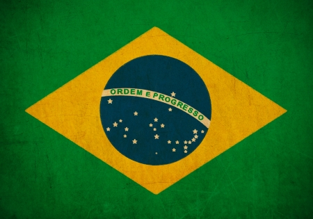 Brazil flag drawing ,grunge and retro flag series  Stock Photo - 15941439