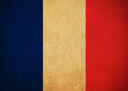 France flag drawing ,grunge and retro flag series  photo
