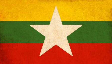 Myanmar flag drawing ,grunge and retro flag series  photo
