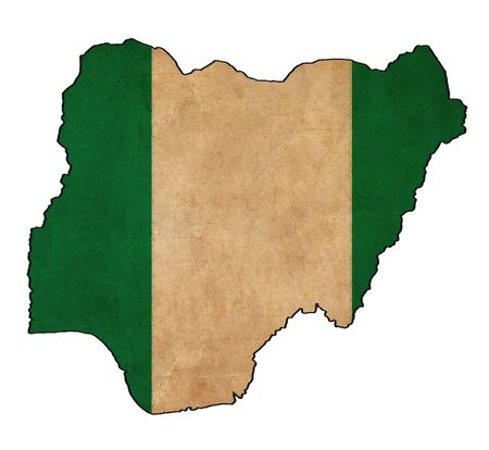 Nigeria map on Nigeria flag drawing ,grunge and retro flag series photo