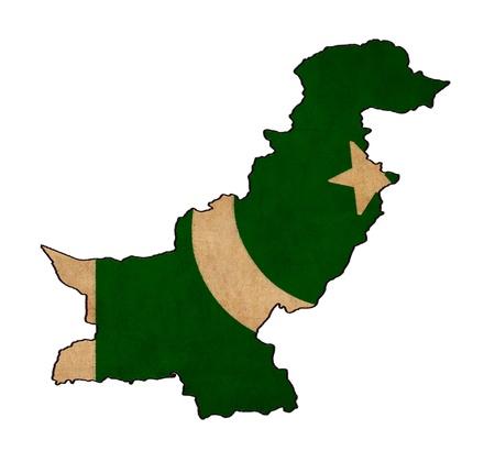 islamabad: Pakistan map on Pakistan flag drawing ,grunge and retro flag series  Stock Photo