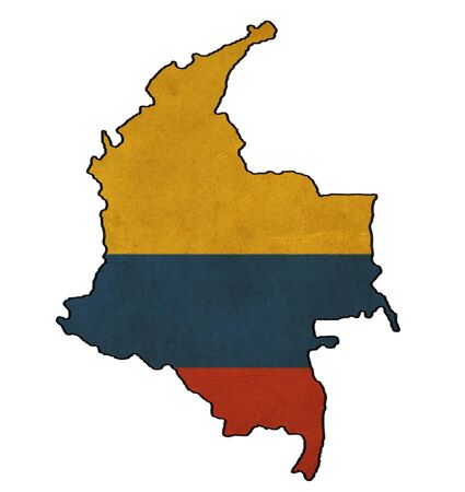 Colombia map on Colombia flag drawing ,grunge and retro flag series  photo