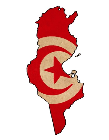 Tunisia map on Tunisia flag drawing ,grunge and retro flag series  Stock Photo - 15938750