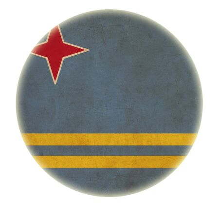 grunge Aruba flag drawing button photo