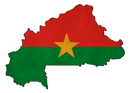 burkina faso: Burkina Faso map on Burkina Faso flag drawing ,grunge and retro flag series