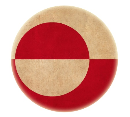 greenlandic: grunge Greenland flag drawing button