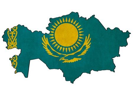Carte Kazakhstan Kazakhstan Dessin drapeau, grunge et rétro série drapeau Banque d'images